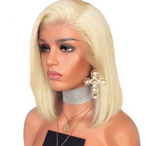 Breve Biondi capelli umani parrucche Virgin brasiliana diritta Pre pizzico Glueless completa Lacefront breve parrucca bionda per White Women