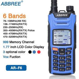 ABBREE AR-F6 Walkie Talkie seis 6 Bandas banda polícia LCD Color Display Dual Display Radio Ham SOS Standby 999CH VOX DTMF dupla