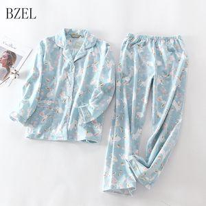 BZEL mujeres pijamas Set Otoño Nueva manga larga de algodón de dibujos animados lindo de la ropa de noche Traje Turn-down Collar Casual Homewear Mujer pijamas