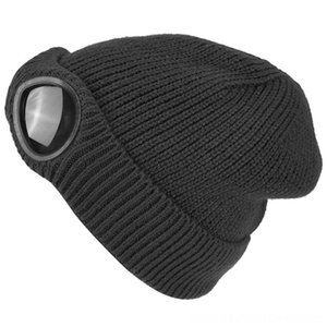 Double-Use Thickened Winter Knitted Hat Warm Beanies Skullies Ski Cap Cycling Protective Gear Cycling With Removable Glasses For Women Black