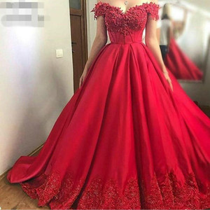 New Custom Red Ball Quinceanera Dresses Beaded Lace Long Party Gowns Dubai Plus Size Evening Gown Prom Dresses off shoulder Robe De Soiree