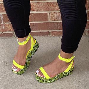 2020 Лето Женщины Пряжка Ремень Сандалии Мягкая Кожа Сандалии На Платформе Женщины Высокие Каблуки Танкетка Peep Toe Обувь Леди 43