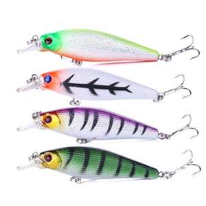 80PCS HENGJIA / الكثير 8.5CM 10.3g الجديد أسماك إغراء الصيد معالجة مع التريبل هوك 6 # هوك 3D عيون العائم الاصطناعي صيد المتذبذب بيت