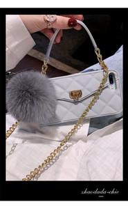 Fashion Metal Clasp XS 7 Fur Fox Pendant Card Long Handbag Purse Chain XR Case Cover For Iphone 12 Mini Bag Pro Real Max 11 X 8 Ball 6S Gidn