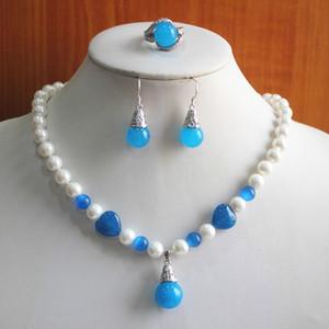 Geburtstagsgeschenk! Schmuck-Set! Großhandel edlen Frauen gemischter weiße und blaue Perle / Natürliche Jade Halskette Ohrring Ring (7/8/9) set # 218