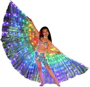 Çocuklar Işıklı Dans Cloak Bale göster Şal LED Kelebek kanatları Floresan Bale Dans Elbise doğum günü Cadılar Bayramı partisi için