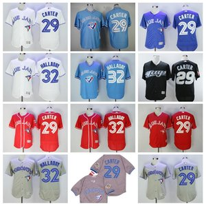 blue jays Baseball 29 Joe Carter Jersey 32 Roy Halladay Flexbase All Stitched High Quality