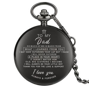 Mode classique Full Black JE VOUS AIME à ma mère / père / femme / Husaband unisexe Quartz Montre de poche Pendentif chaîne famille cadeau