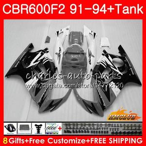 Kit + serbatoio per HONDA CBR600RR CBR 600 FS 1991 1992 1993 1994 40NO.311 CBR600F2 CBR 600F2 CBR600FS CBR600 F2 91 92 93 94 grigio carenature bianchi