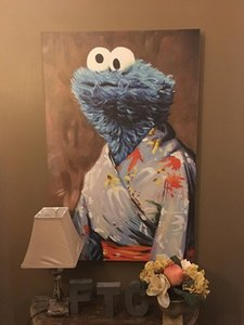 Bella Cookie Monster in un kimono di alta qualità dipinta a mano HD stampa astratta moderna di arte della parete della pittura ad olio su tela per la casa Multi Taglie