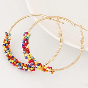 Etnici semplici orecchini a cerchio in lega per le donne Colorful Huggie orecchini in rilievo moda geometrica accessori gioielli in oro placcato all'ingrosso