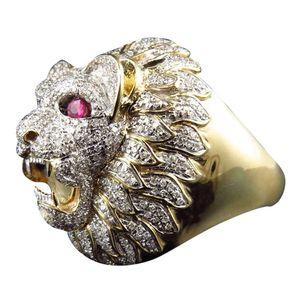 Stilvolle Schmuck Romantische elegante Männer Ringe Männer Art und Weise Punk-Art-Löwe-Kopf-Gold füllte Natur variet Edelstein Ring DSHIP