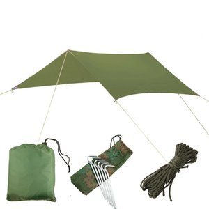 Prata revestimento impermeável Tent Hammock Toldo Canopy Tarp Praia Camping portátil Pergola Pára-sol ao ar livre