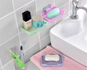Drainage waterfall soap box suction cup water drain dish soap dish sponge holder for bathroom tool