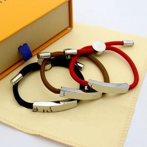 2020 neue Marke Mode Frau Bettelarmband V Buchstaben schwarz rot Zugseil Armband Paar Leder Liebesarmband