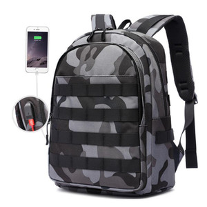 Zaino nuovo Zaino da uomo Mochila Battlefield Fanteria Pack Camouflage Tela da viaggio USB Jack Zaini scuola multifunzione