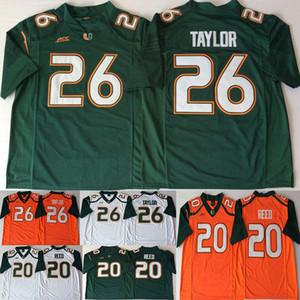 26 Трикотажные изделия Sean Taylor Miami Hurricanes 20 Reed ACC Оранжевый Зеленый Белый Мужчины Футбол Футбол Джерси колледжа