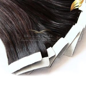 H 40pcs Natural Color Glue Skin Hair Weft Tape In Human Hair Extensions Straight Indian Hair Weaves 18 &#039 ;-24 &Quot ;Bellahair