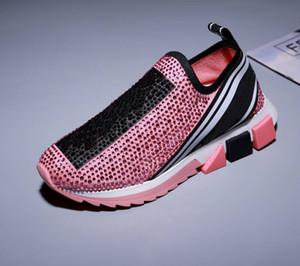 Zapatos superior de cuero de lujo de los hombres zapatos casuales zapatillas de deporte para mujer para hombre Fashion Party tejido elástico del Rhinestone de dos tonos de goma zapatillas de tenis