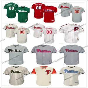 custom Men women youth PhiladelphiaPhillies00 Any Your name and your number Home Red Black Grey White Kids Baseball Jerseys