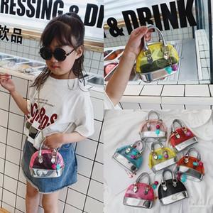 7colors bambini trasparente Borsa a tracolla di colore della caramella del PVC Borse Moda neonate Mini Priness Purses Snack PU Coin Borse GGA3543