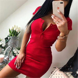 Summer Dress Fall Women Sexy Casual Knit Sheath Mini Dresses Ladies Solid V Neck Chest Button Short Sleeve Bodycon Dress R1305