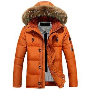 2018 hiver nouveaux hommes bas Parkas mode Casual Duck Down Jacket Men Hooded épais manteaux Park col fourrure occasionnels Parkas M-4XL.
