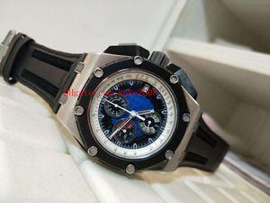 Moda İyi Saatı N8 Fabrika 44mm 26290io.OO.A001VE.01 Kauçuk Paslanmaz Çelik VK Kuvars Chronograph Çalışma Erkek İzle Saatler