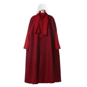 Costumi anime Il cappotto costume cosplay di Handmaid Tale Avvolto + vestito + borsa + sciarpa + cappello Elisabeth Moss June June Osborne Trench fuoriborto