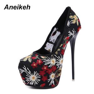 Venta al por mayor Primavera Otoño Mujer Clásicos Bombas Pintadas A Mano Super High Heels Emborider Shoes Cover Heel Platform Thin Heels shoes40