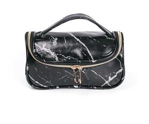 DHL 50pcs Tolietry kits Women PU Marbling Multifunctional Large Capacity Cosmetic Bag White Black