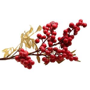 Noel Düğün Dekorasyon Red Berry Yapay Meyve 1PC Köpük Buket Evlilik Ev Dekorasyonu Parti Dekoratif Sahte Çiçek