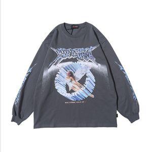 Aelfric Eden Vintage Melek Harf Baskılı Erkek Tişörtü 2020 Casual Pamuk Kazak Harajuku Hip Hop Moda Streetwear Tops