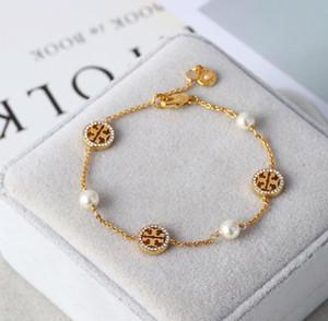 Designer européen Bijoux Top Qualité Bracelet 3 Couleurs Or Argent Rose Bracelet Lien Or avec Cristal Perle pour les Femmes Cadeau