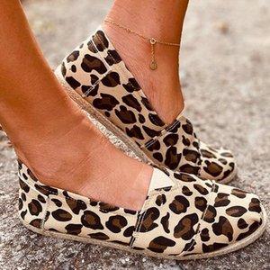 Verão mulheres que andam Sapatos rasos Leopard Impressão Verão Boca Canvas preguiçosas Shoes Fundo Plano cabeça redonda Flats Mulher