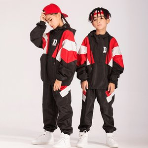 New children's street dance suit boys and girls hiphop hip hop costume loose black jacket trousers tide