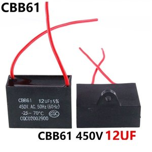 CBB61 450VAC 12UF fan starting capacitor lead length 10cm with line