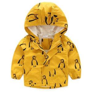 2019 roupa dos miúdos dos meninos Casacos Crianças com capuz Zipper Windbreaker Moda Bebê Imprimir Brasão infantil Hoodies impermeável para meninas