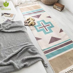 New Retro Bohemian Hand Woven Cotton Linen Carpet Tassel Bedside Rug Geometric Floor Mat Long Carpets Rug Living Room Home Decor Y200527