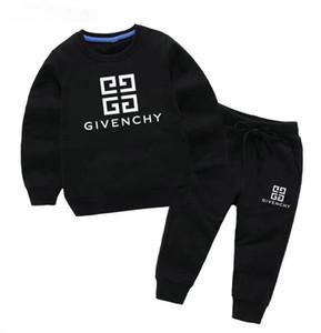 Klasik lüks Logo tasarımcısı bebek T-shirt ceket ceket Yuvarlak boyun kazak olde Suit çocuk moda çocuk 2 parça pamuk giyim S.