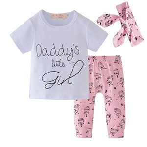 Newborn Infant Baby Girls Clothes Set Daddy's Little Girl Outfit Short Sleeve T-shirt Pants Headband Summer Toddler Clothing