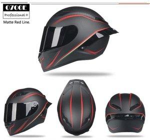 pieno volto nero moto cappello rosso di sicurezza casco con la pittura ala posteriore in carbonio moto da corsa DOT casco