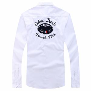 Eden Park marchio classico solido del cotone della camicia casuale manica lunga da uomo francese camicie di design del marchio camisa Masculina homme 3XL Y200623