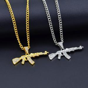 Bling bling pistola giratoria ametralladora hip hop oro plata cristal colgante collar helado cadena joyería
