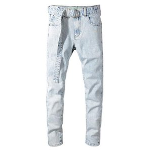 Mens designer jeans fashion brand retro belt decoration old light gray jeans hot luxury designer denim trousers