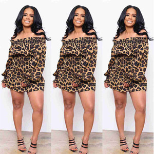 Mulheres Designer Leopard Impresso Vestidos Moda Colete cintura natural Vestidos casuais slash longo pescoço vestidos de manga