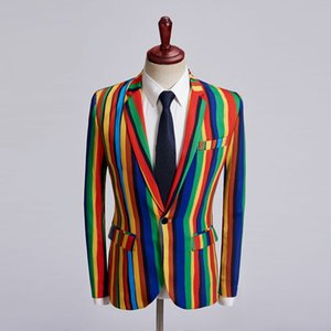 Полосатый пиджак Mens Slim Fit Blazer Masculino Business Casual Мужская стильная весна-осень мужские костюмы личности хозяина