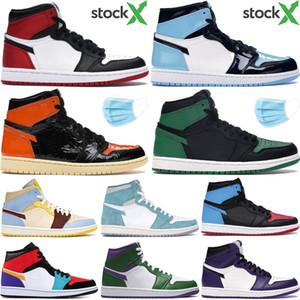 Новый 1 высокий OG 1s мужская баскетбольная обувь бесстрашный UNC Невероятный Халк сосна зеленый черный многоцветный топ 3 Мужчины Женщины дизайнерские тренеры