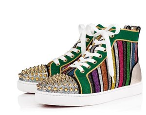 sneaker tubing verde in pelle scamosciata Designer Red Bottom Casual Scarpe High Low Luxury Shoes Uomo Donna Wedding Crystal Leather Sport Spike