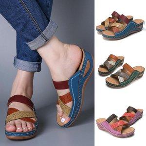 Yaz Ayakkabı Kadınlar Pu Deri Terlik Bayanlar Dikiş Yumuşak Plaj Sandalet Bayan Açık tatil Casual Shoeses Chanclas D3